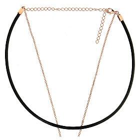 Girocollo croce argento 925 rosé cuoio nero s3