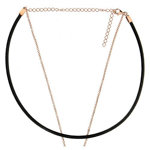 Girocollo croce argento 925 rosé cuoio nero 3