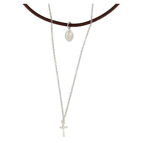 Collier tour de cou croix et médaille argent 925 et cuir 1