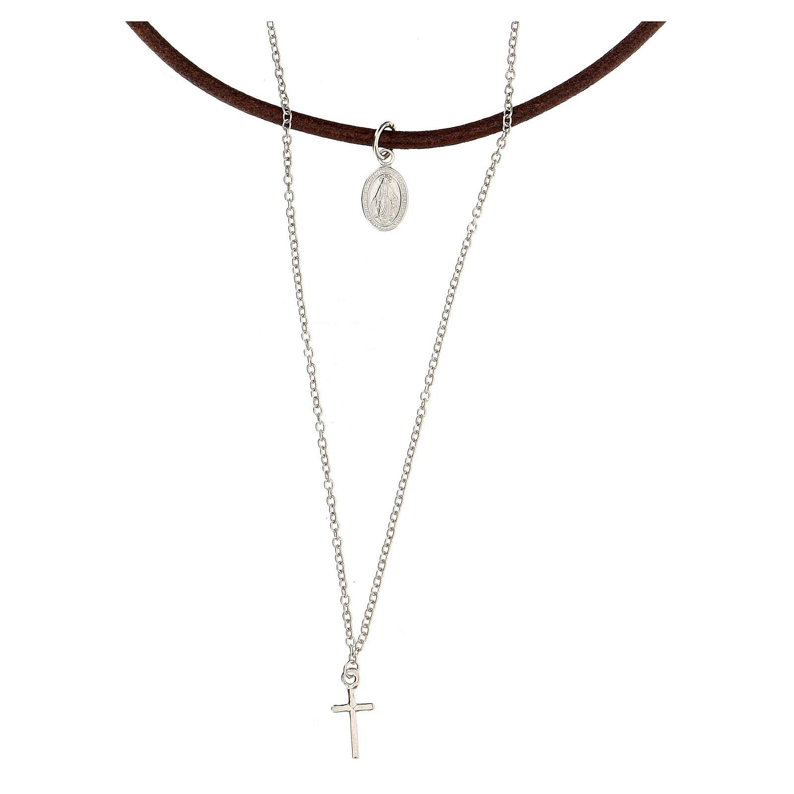 Doppio girocollo croce medaglia argento 925 cuoio 4
