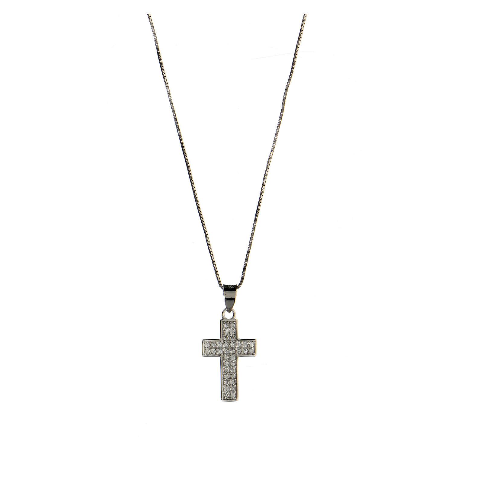 Collier croix latine argent 925 zircons blancs 4