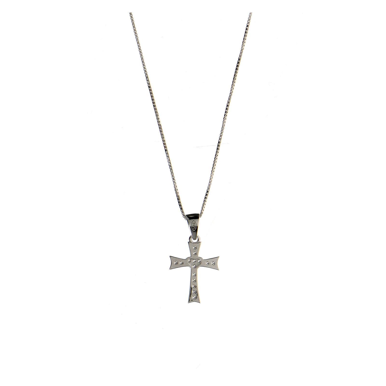 Collier croix évasée argent 925 zircons blancs 4