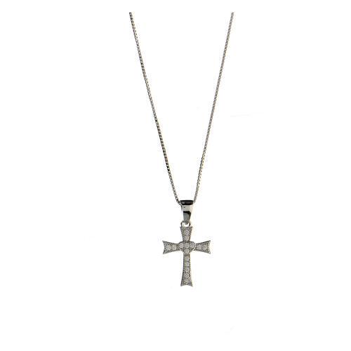 Collier croix évasée argent 925 zircons blancs 1