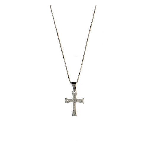 Collier croix évasée argent 925 zircons blancs 2