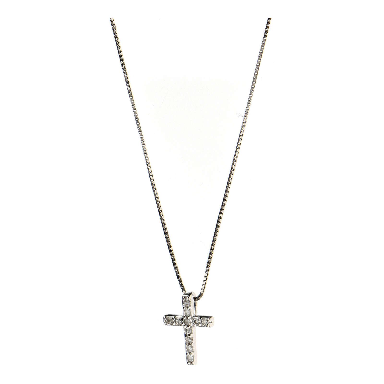Collana croce argento 925 fila zirconi 4