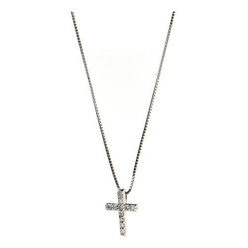 Collana croce argento 925 fila zirconi 1