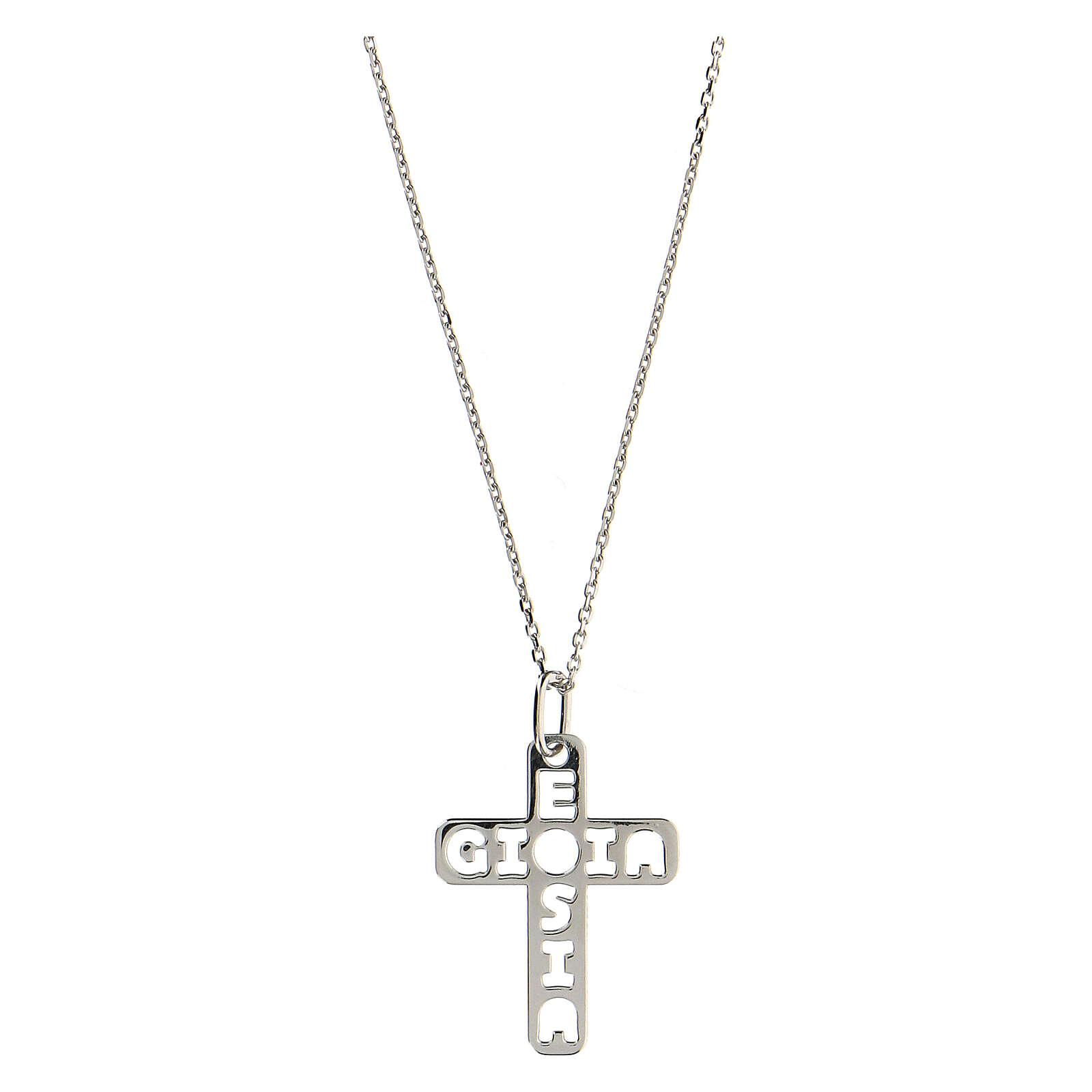 Pendente croce E Gioia Sia argento 925 grande 4