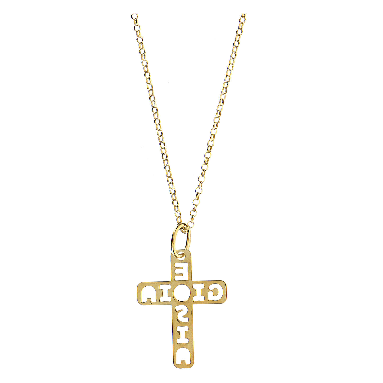 Colgante cruz dorada E Gioia Sia plata 925 grande 4