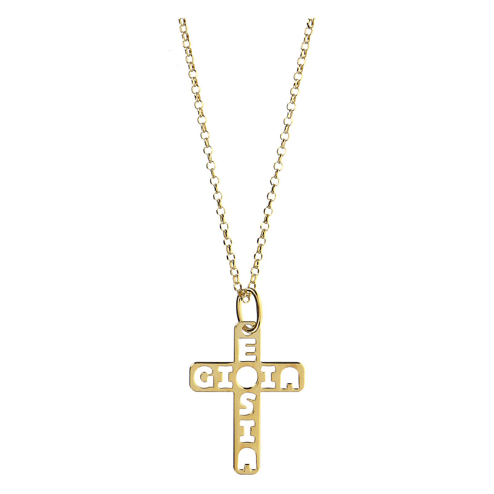 Pendente croce dorata E Gioia Sia argento 925 grande 4