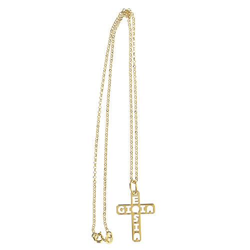 Pendente croce dorata E Gioia Sia argento 925 grande 3