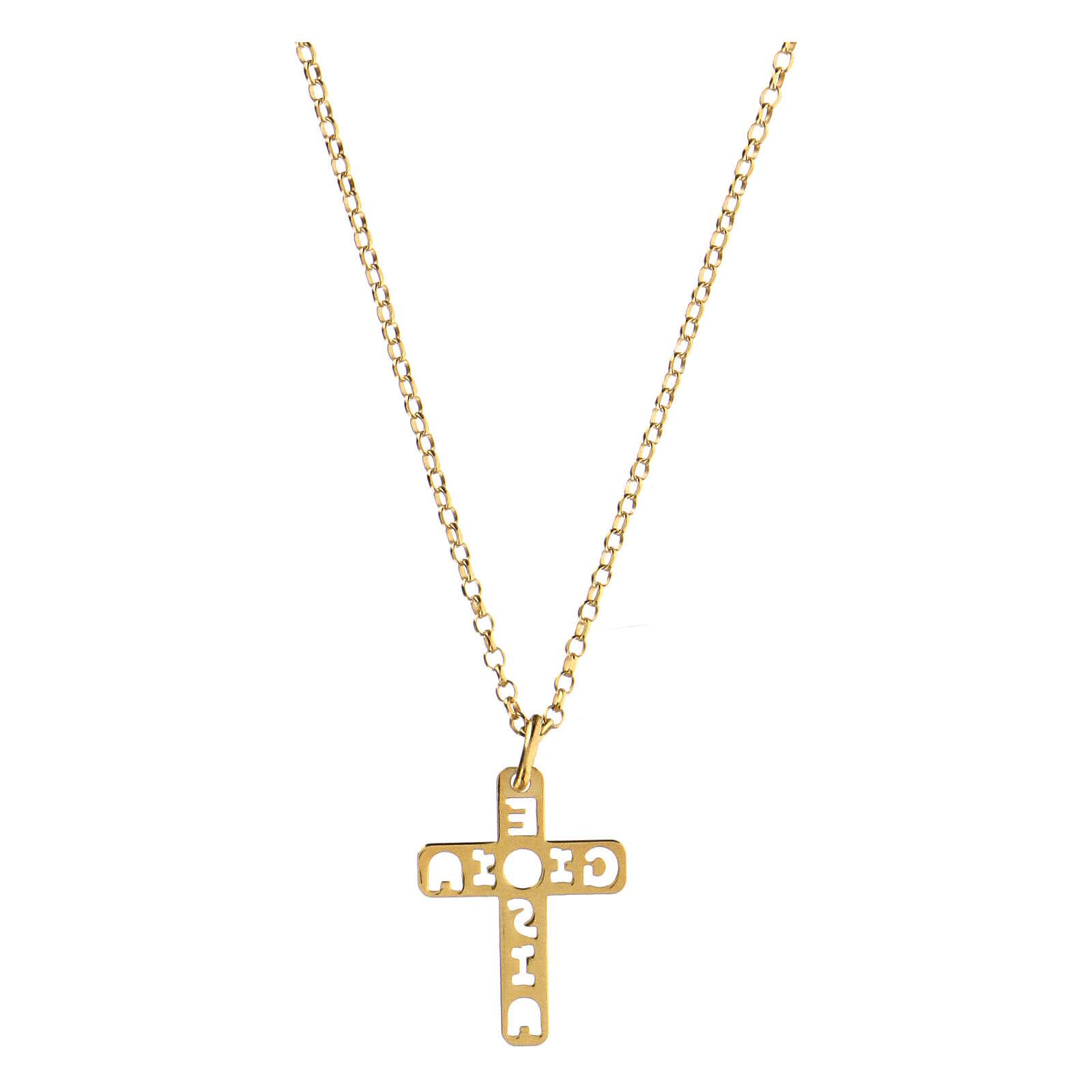 Pendentif croix E Gioia Sia argent 925 doré 4