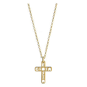 Pendentif croix E Gioia Sia argent 925 doré s1