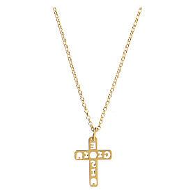 Pendentif croix E Gioia Sia argent 925 doré s2