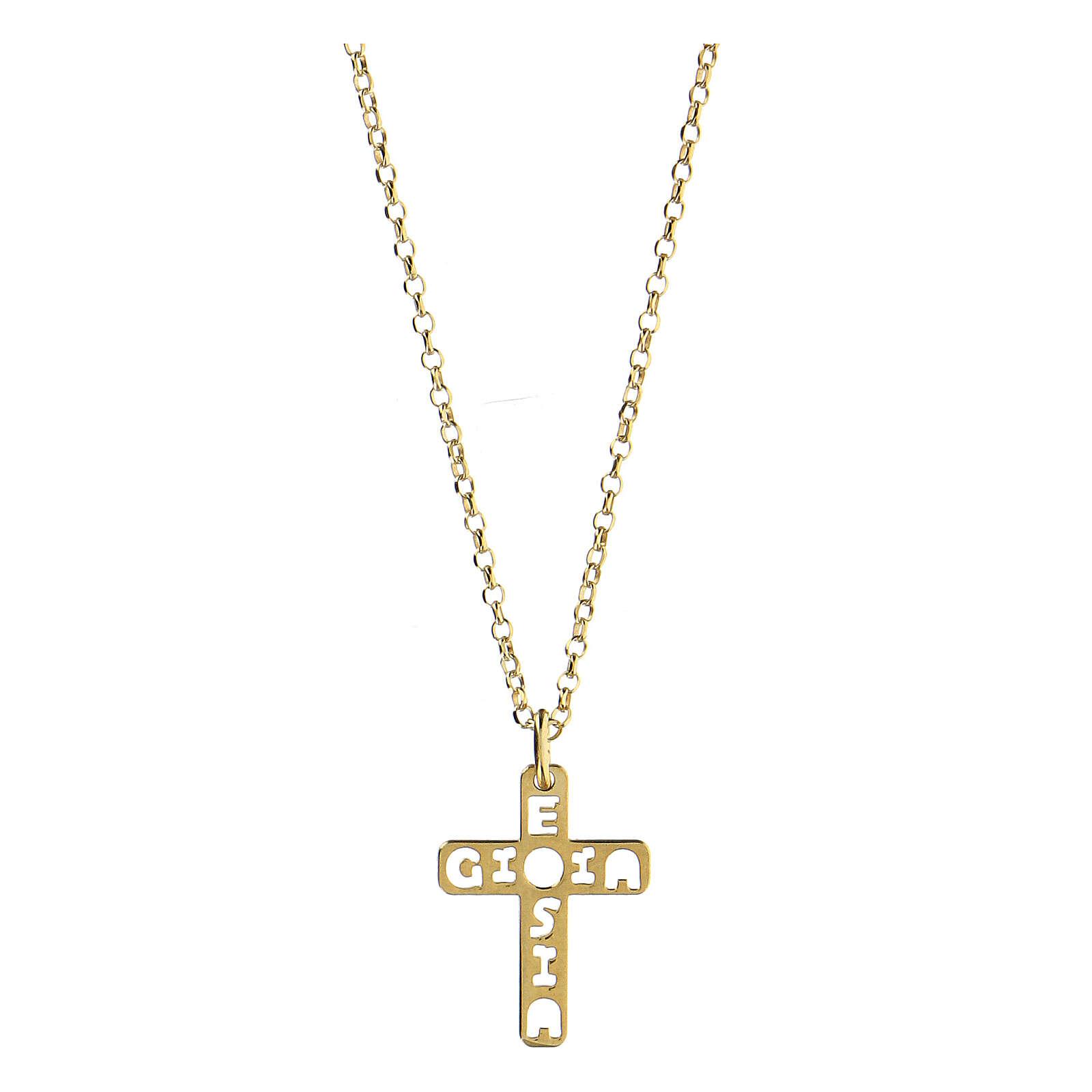Pendente croce E Gioia Sia argento 925 dorato 4