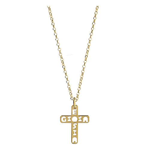 Pendente croce E Gioia Sia argento 925 dorato 1
