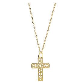 Cruz plata 925 dorada E Gioia Sia fondo perforado grande s2