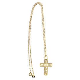 Cruz plata 925 dorada E Gioia Sia fondo perforado grande s3