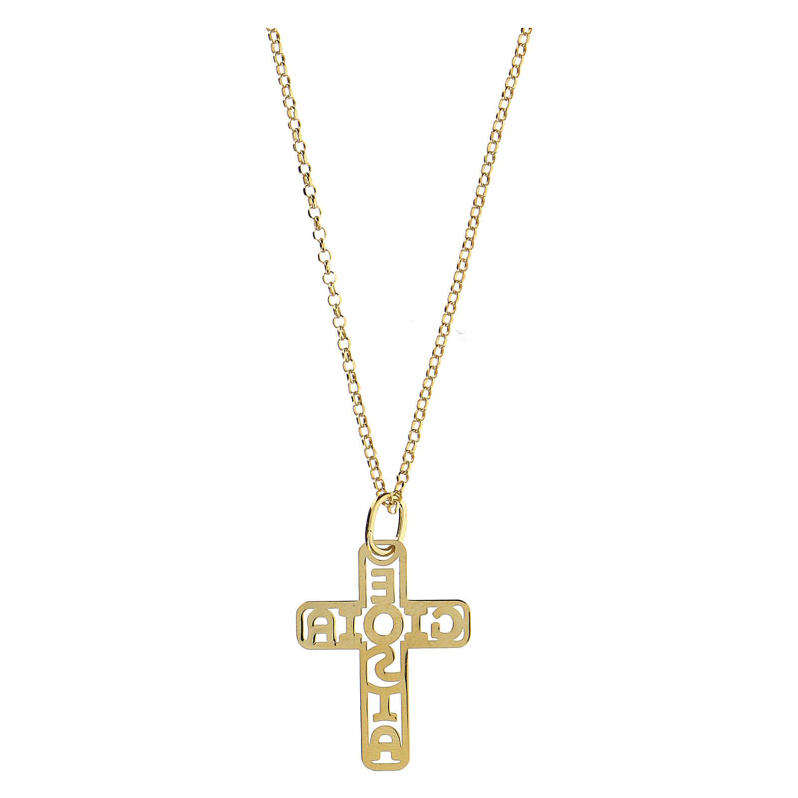 Croce argento 925 dorato E Gioia Sia fondo traforato grande 4