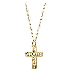 Croce argento 925 dorato E Gioia Sia fondo traforato grande s1