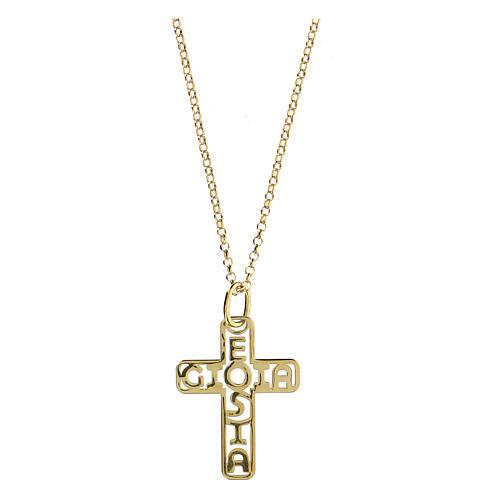 Croce argento 925 dorato E Gioia Sia fondo traforato grande 1