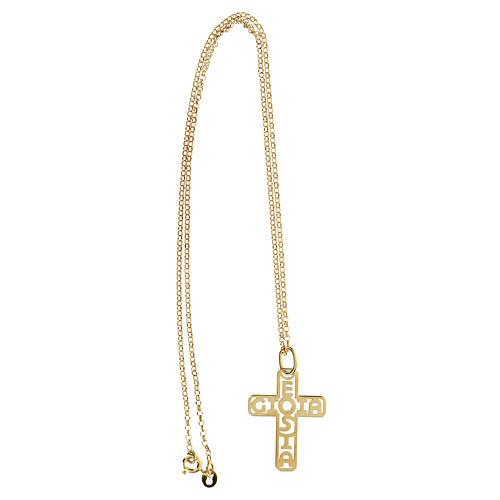 Croce argento 925 dorato E Gioia Sia fondo traforato grande 3