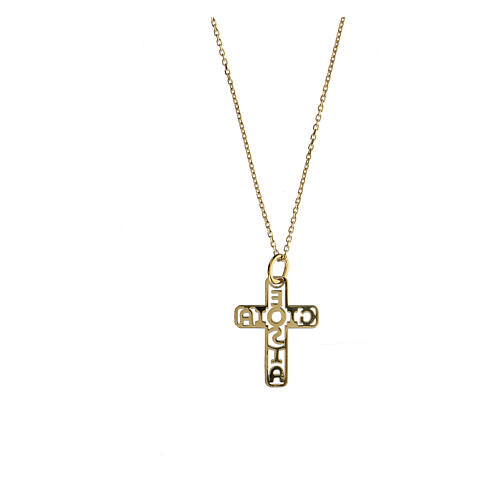 Croix dorée argent 925 E Gioia Sia fond ajouré 2