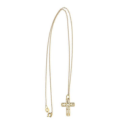 Croix dorée argent 925 E Gioia Sia fond ajouré 3