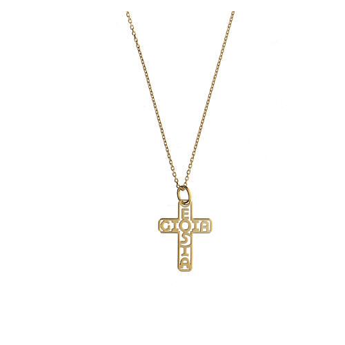 Croce dorata argento 925 E Gioia Sia fondo traforato 1