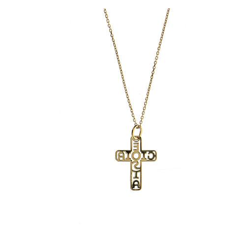 Croce dorata argento 925 E Gioia Sia fondo traforato 2