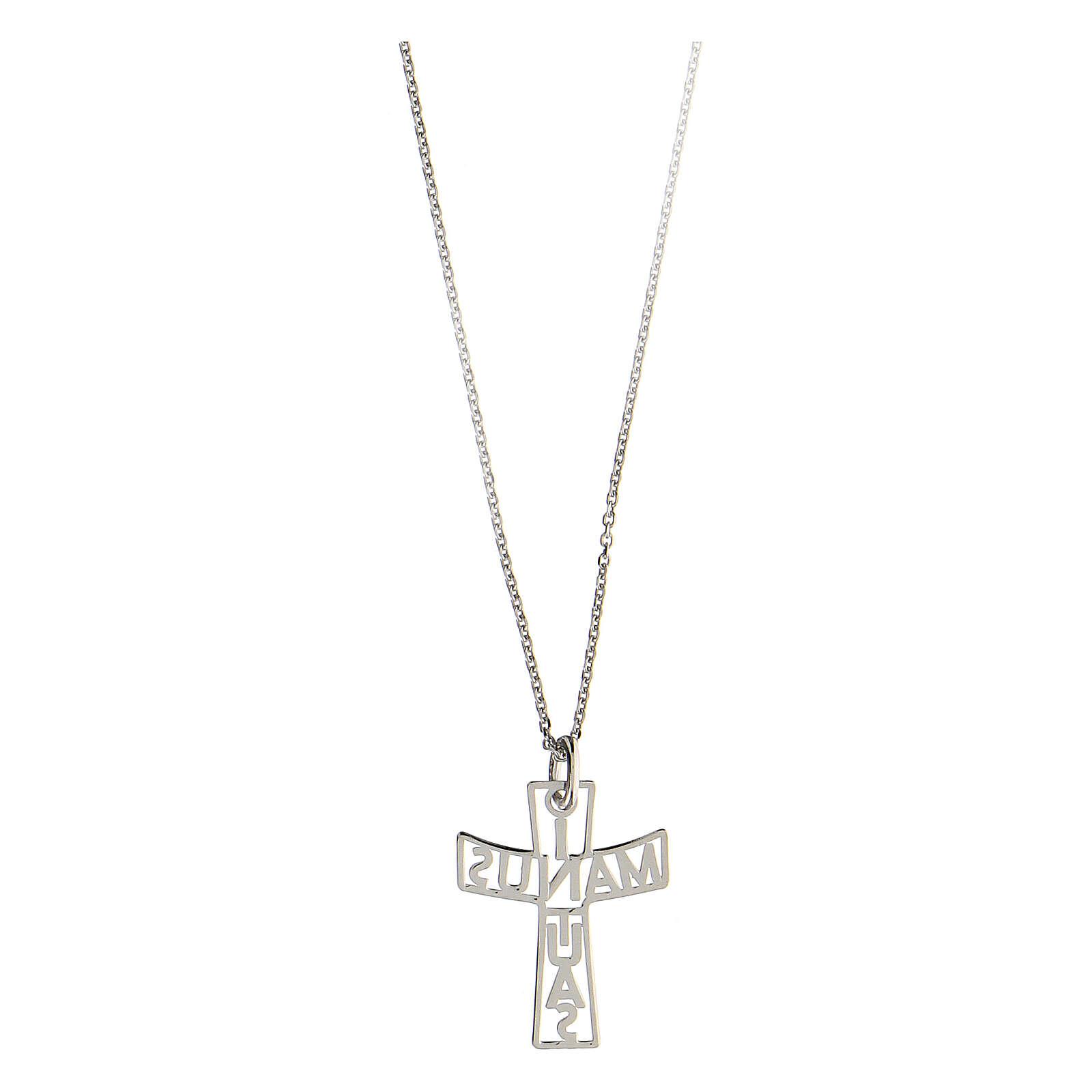 Croce fondo traforato In Manus Tuas argento 925 4
