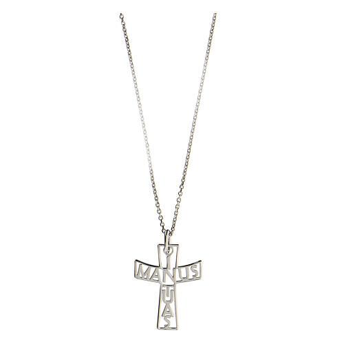 Croce fondo traforato In Manus Tuas argento 925 1