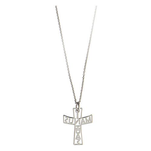 Croce fondo traforato In Manus Tuas argento 925 2