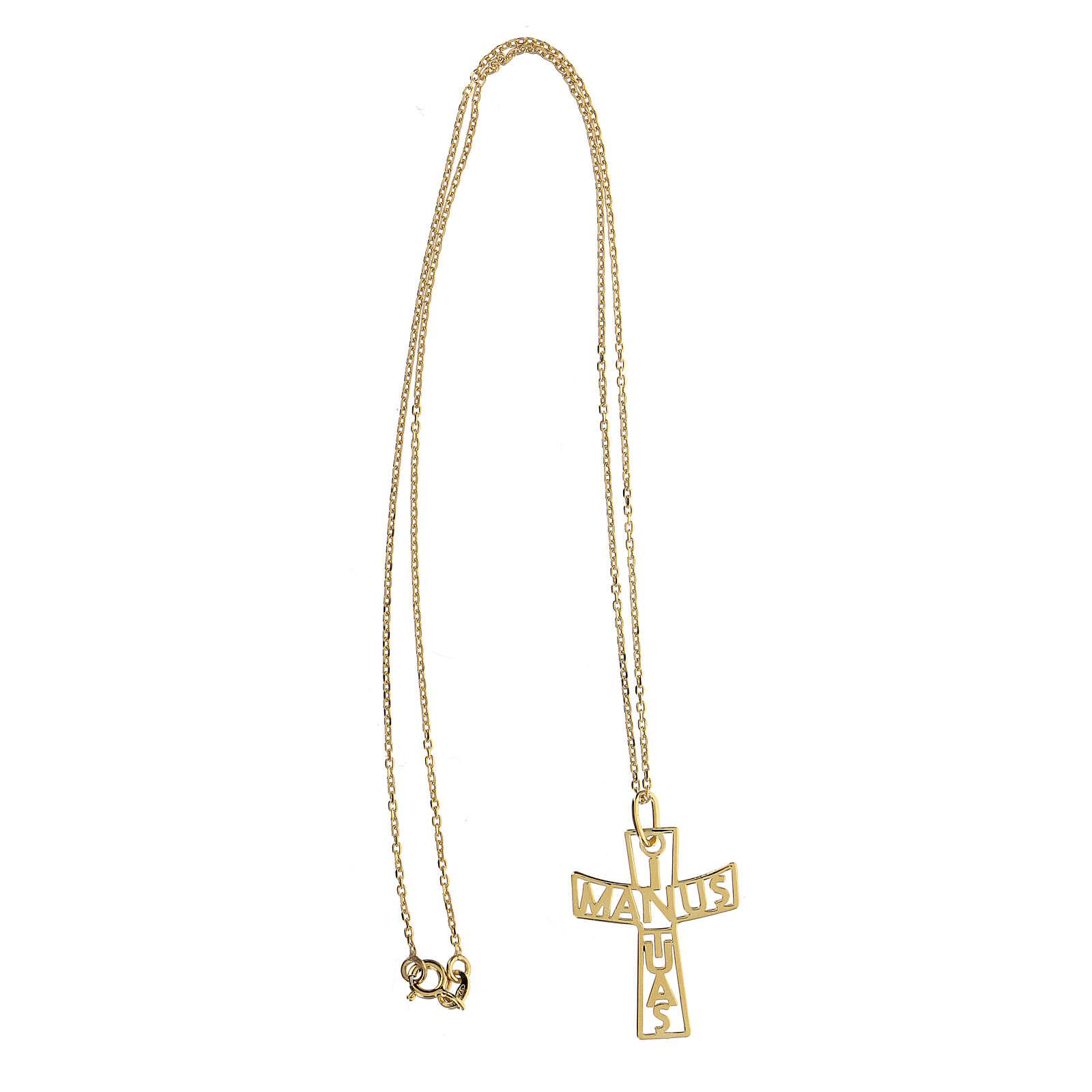 Cruz grande perforada In Manus Tuas plata 925 dorada 4
