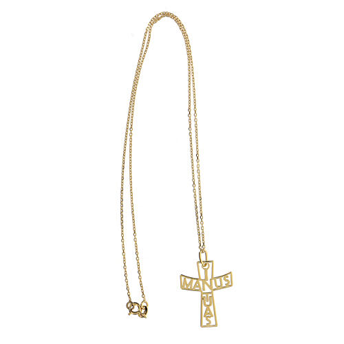 Cruz grande perforada In Manus Tuas plata 925 dorada 3
