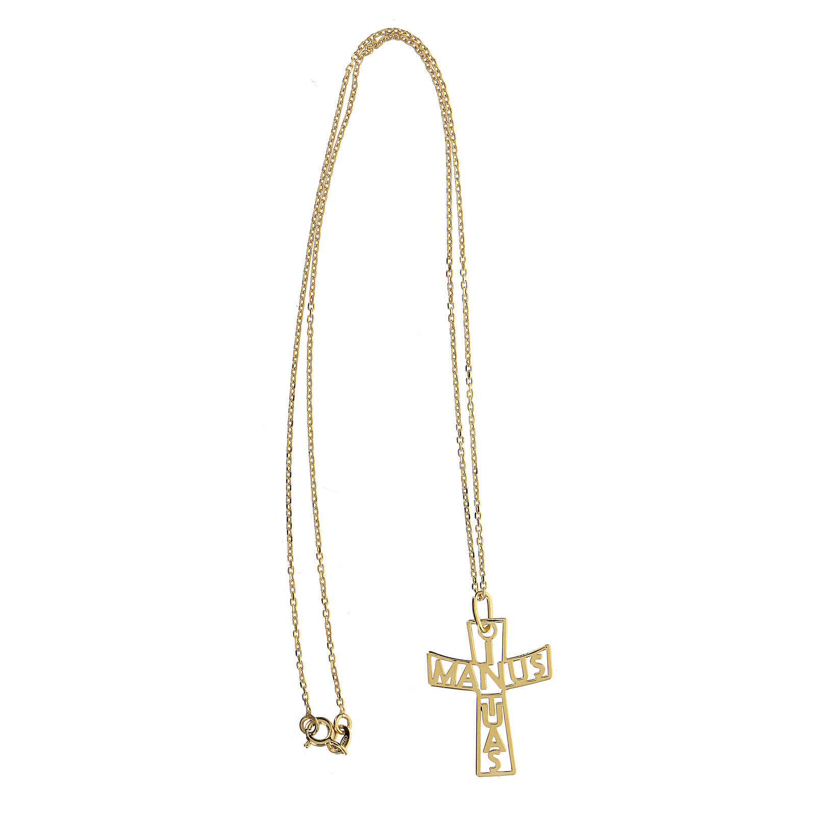 Grande croix ajourée In Manus Tuas argent 925 doré 4