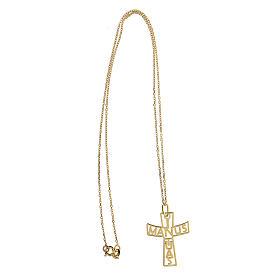 Croce grande traforata In Manus Tuas argento 925 dorato s3