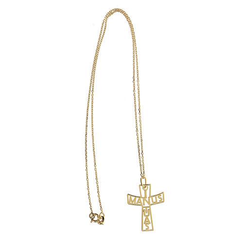 Croce grande traforata In Manus Tuas argento 925 dorato 3