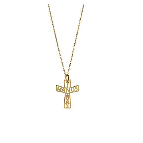 Croix argent 925 doré In Manus Tuas 1