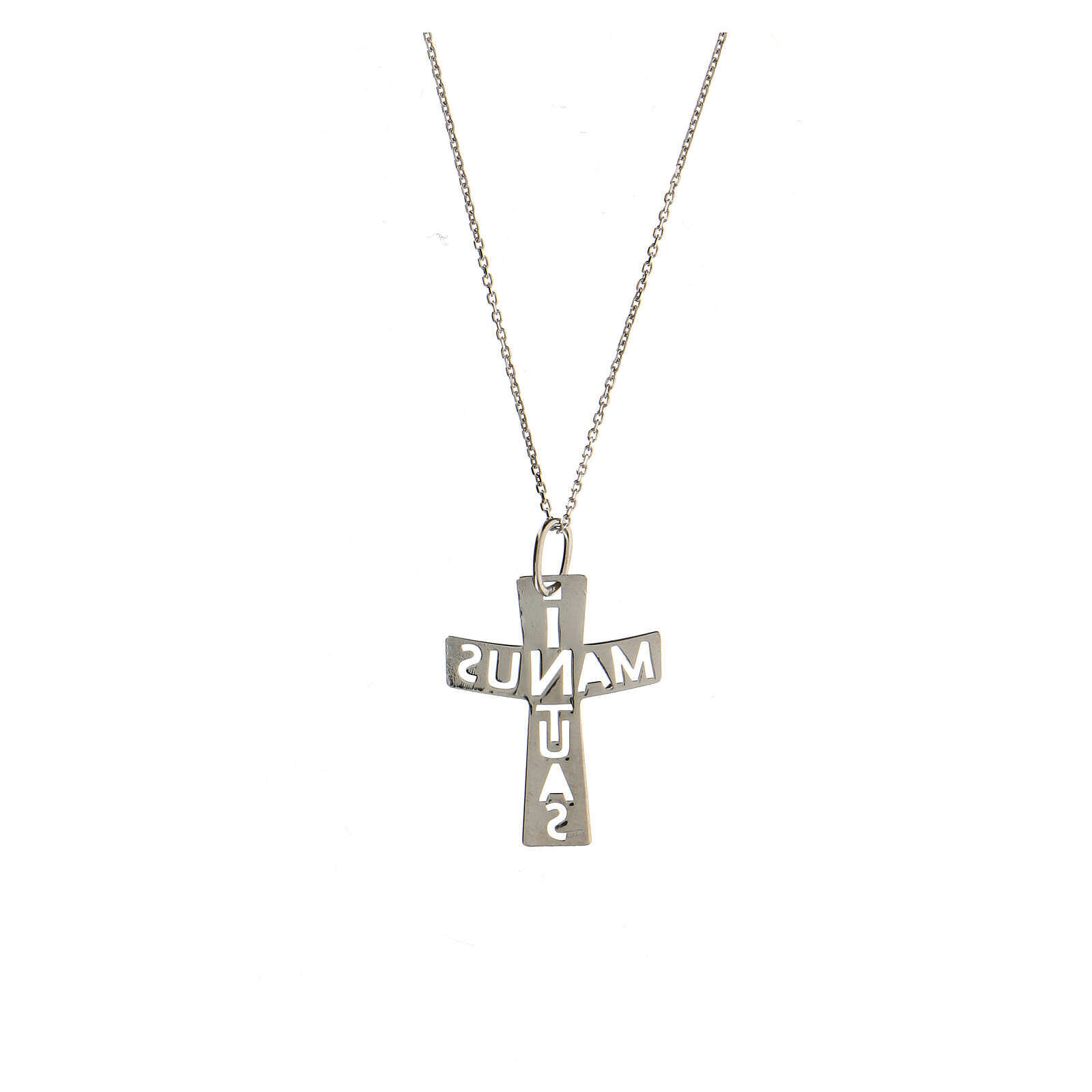 Croix ajourée argent sterling In Manus Tuas grande 4