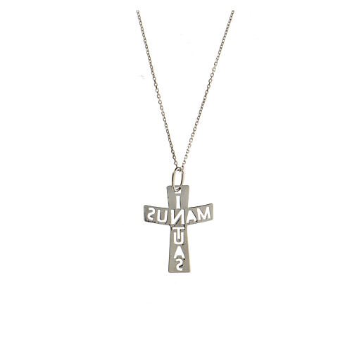 Croix ajourée argent sterling In Manus Tuas grande 2