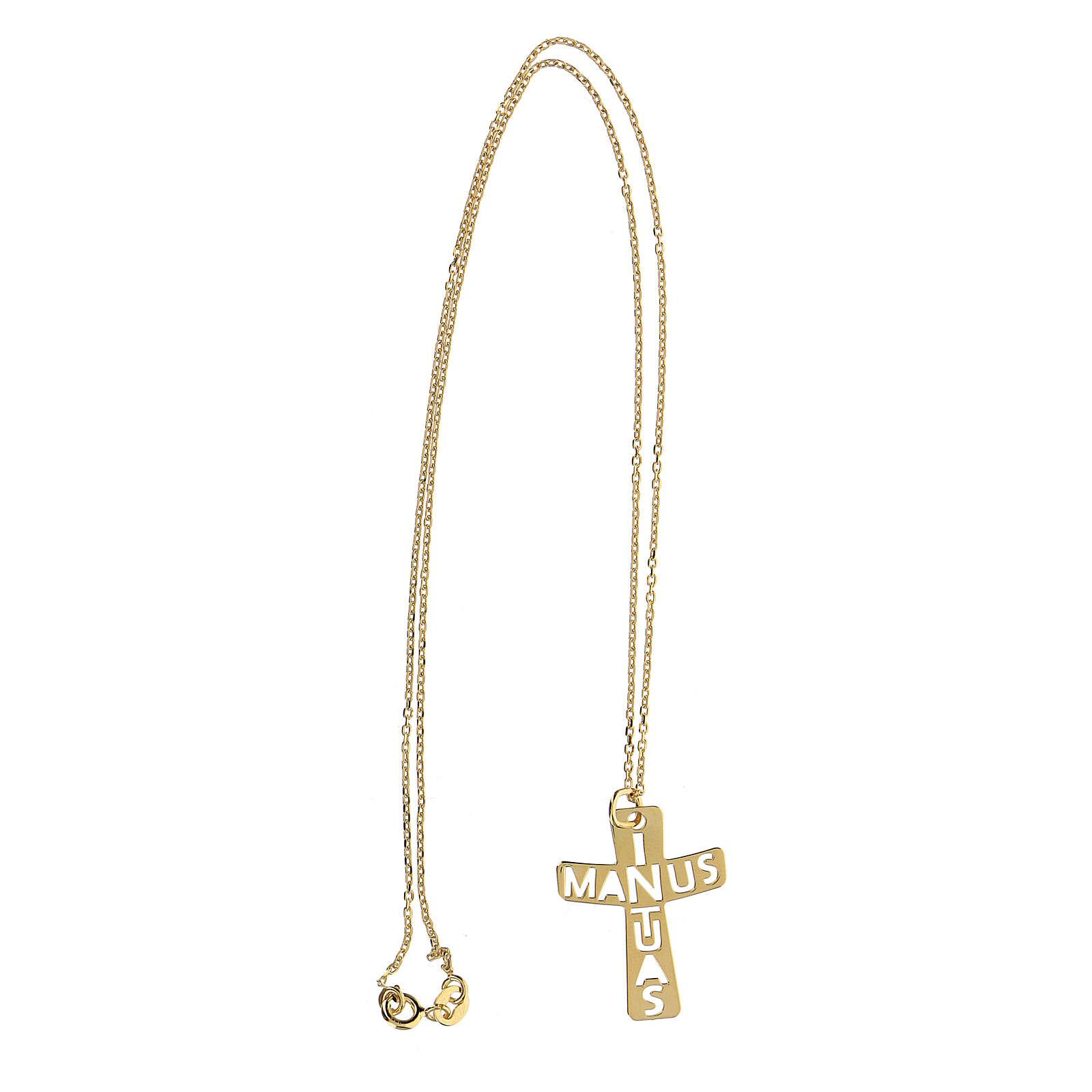 Pendente croce traforato argento 925 dorato In Manus Tuas 4
