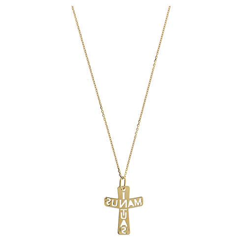 Pendente croce traforato argento 925 dorato In Manus Tuas 2