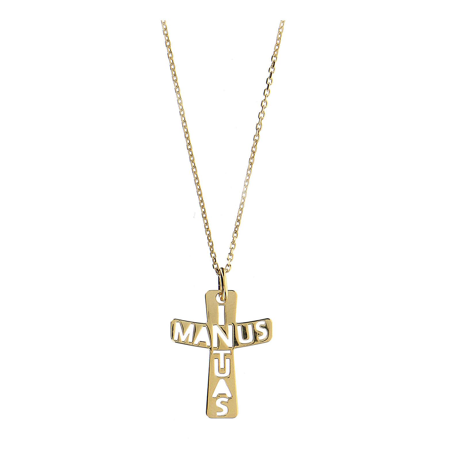 Croce argento 925 dorato In Manus Tuas traforata 4