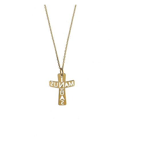 Croce argento 925 dorato In Manus Tuas traforata 2