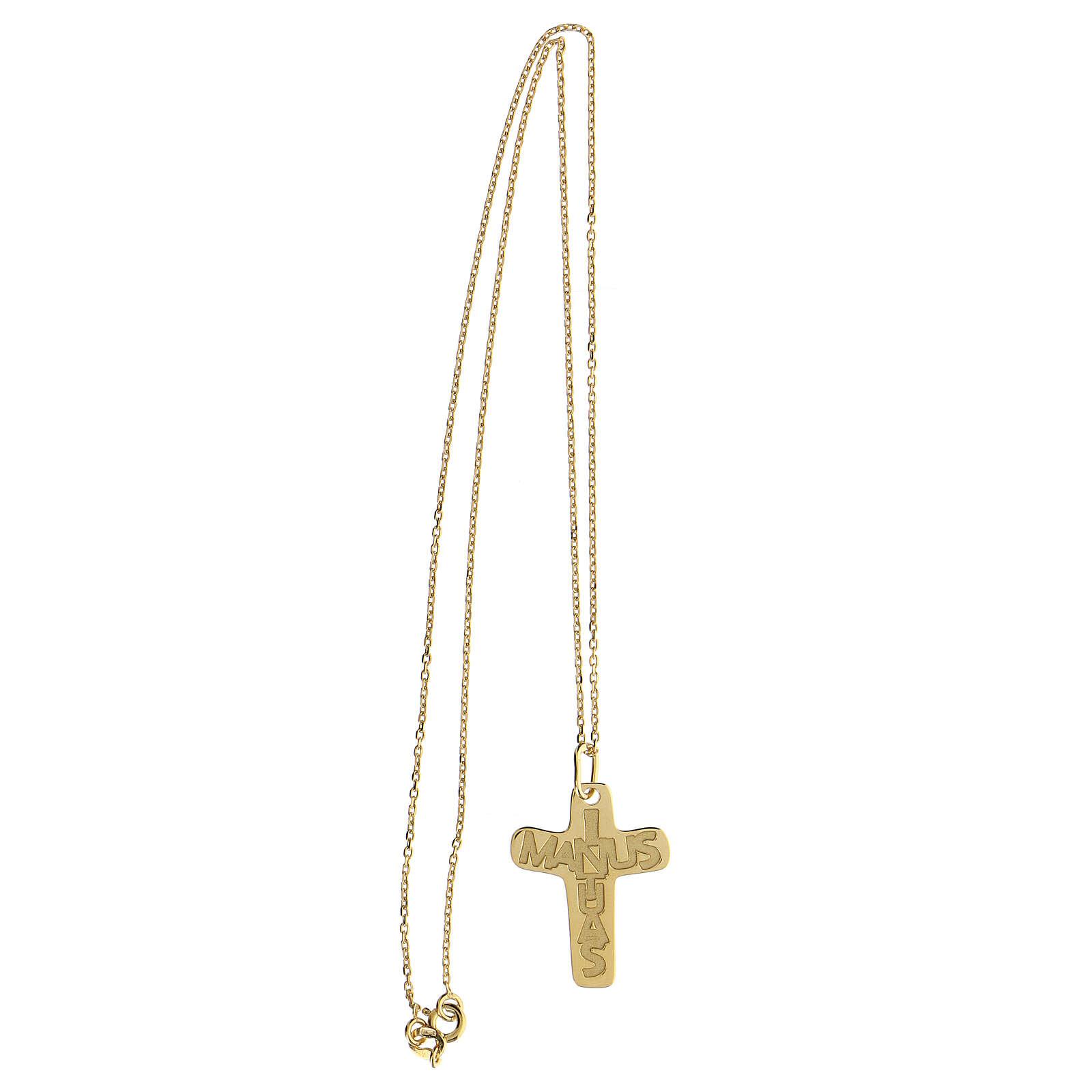 Croix argent 925 doré In Manus Tuas relief 4