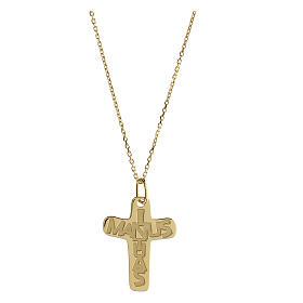 Croix argent 925 doré In Manus Tuas relief s1