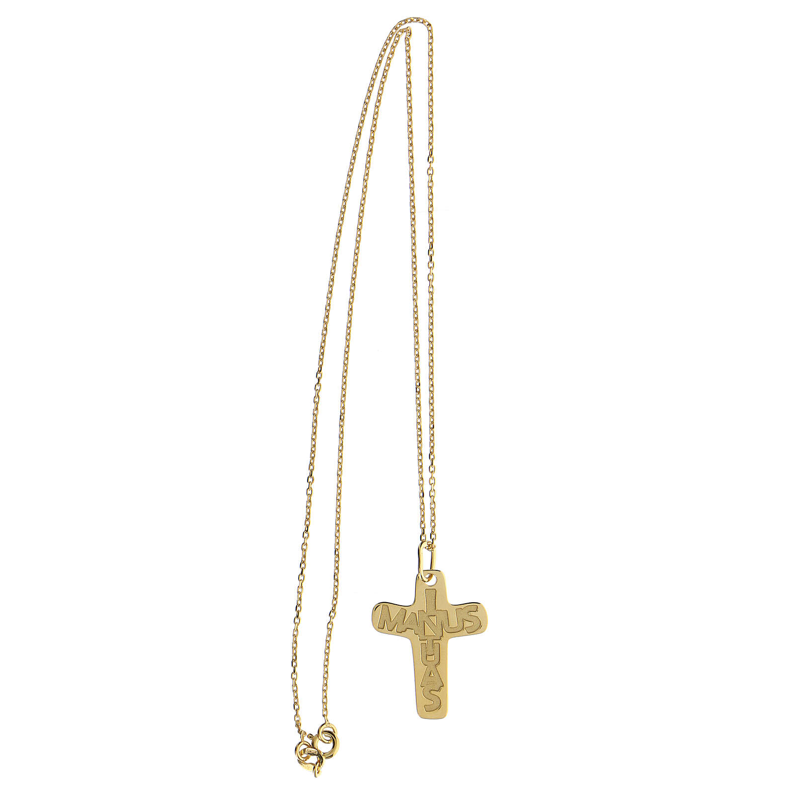 Croce argento 925 dorata In Manus Tuas rilievo 4