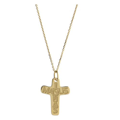 Croce argento 925 dorata In Manus Tuas rilievo 1