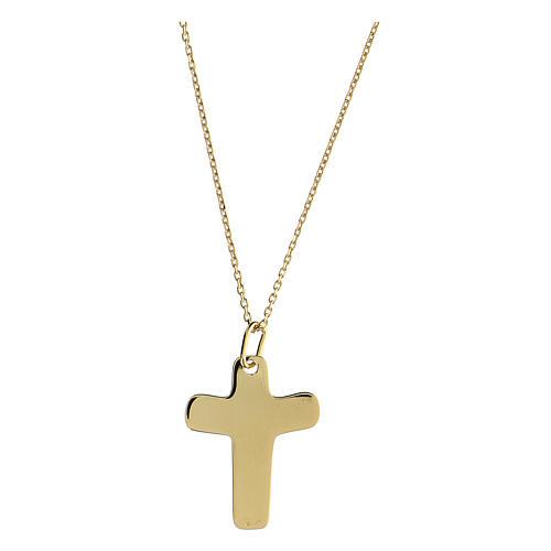Croce argento 925 dorata In Manus Tuas rilievo 2