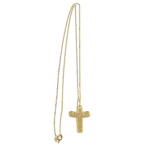 Croce argento 925 dorata In Manus Tuas rilievo 3